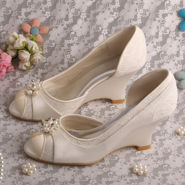 Wedopus Elegant Bridal Wedge Heel Prom Shoes Ivory Lace and Satin Peep Toe Pumps