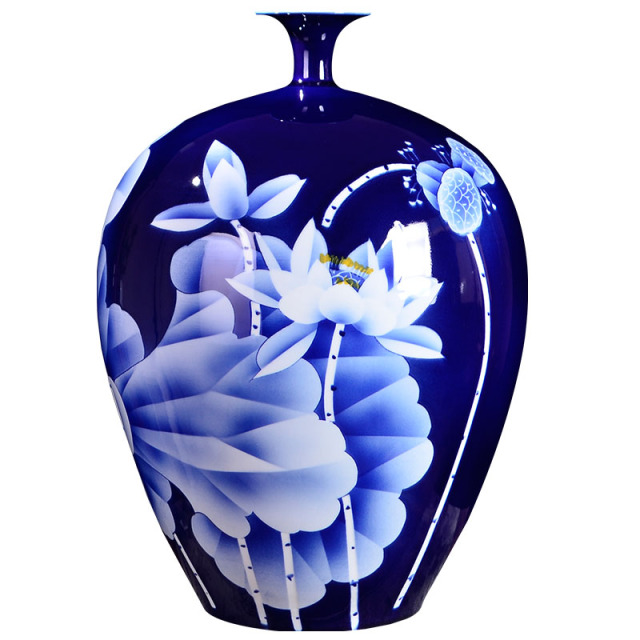 Big Blue Vase Collection Jingdezhen Ceramic Master Handpainted White
