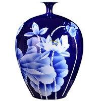 Großen Blauen Vase Sammlung Jingdezhen Keramik Master Handgemalte Weiß Lotus Feines Porzellan Dekorative Blumenvase