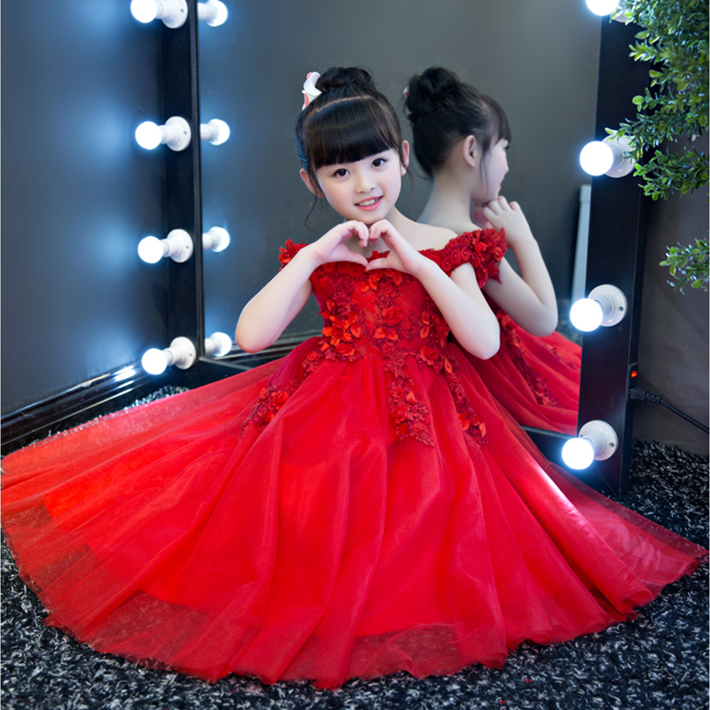 Red Kids Pageant Dress for Wedding Birthday Party Off the Shoulder Ball  Gown Princess Dress Appliques Flower Girl Dresses B30-in Dresses from Mother    Kids ... e7a1070302e6