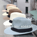 Summer Mens Wide Brim Fedora Hat Chapeu Masculino Panama Jazz Sun Beach Hats 8pcs/lot Free Shipping SSDS-006
