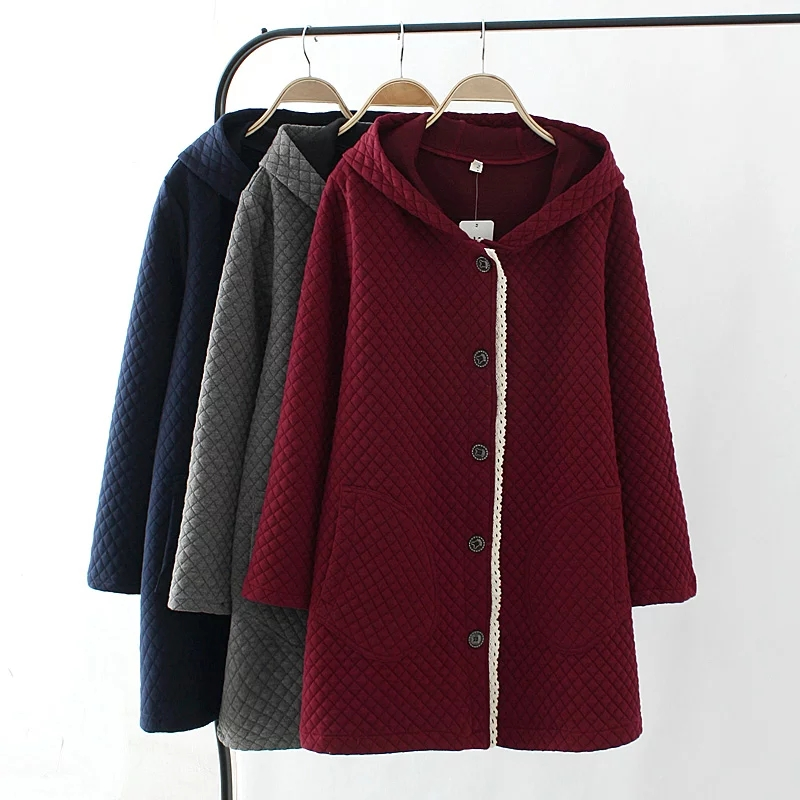 2018 Spring Autumn Plus Size Women's Clothing Casual Single breasted Hooded Jacket Female Loose Windbreaker Coat Outerwear BL218