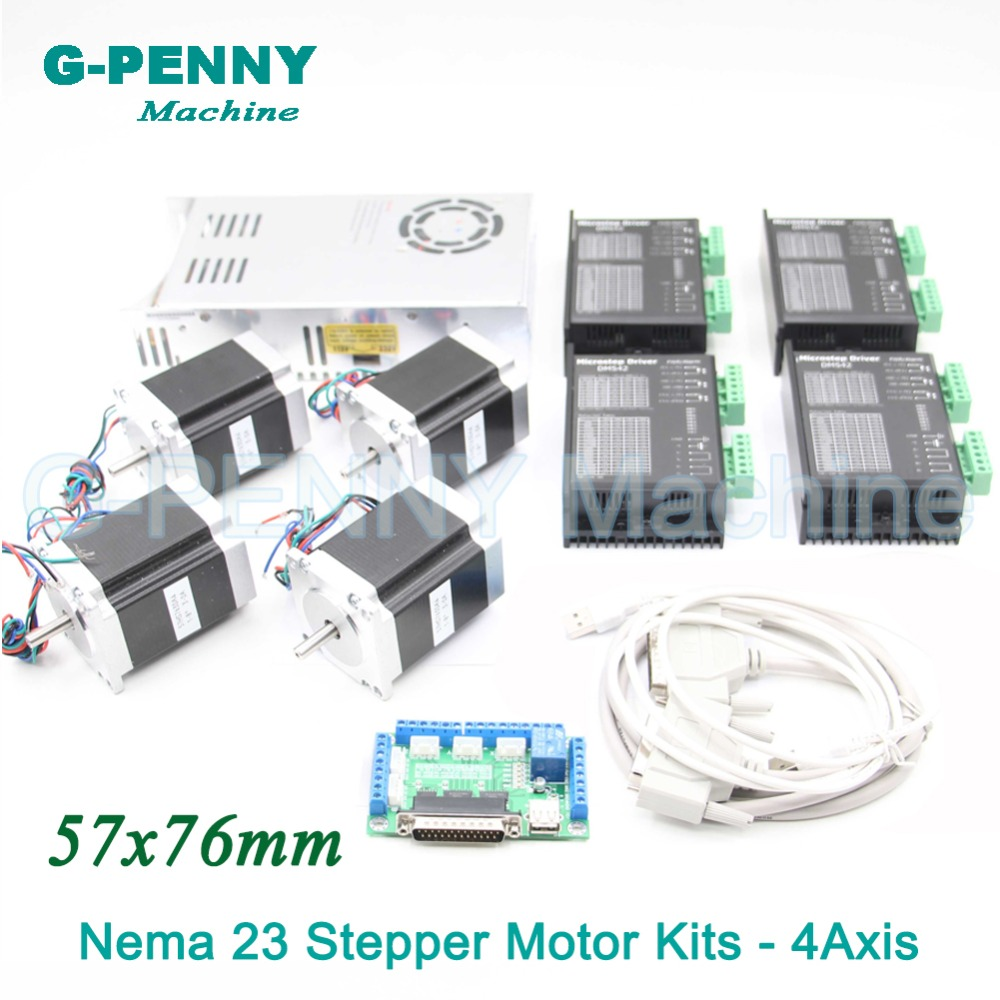 4Axis CNC stepper motor control kits name23 stepping motor + Driver 24-50VDC + Power supply switch 400w 36v+5axis breakout board