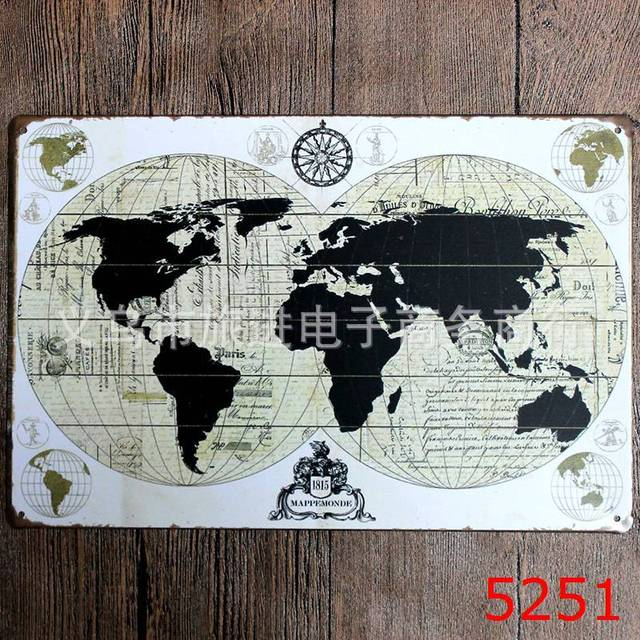 About the world map vintage tin signs metal painting home decor wall about the world map vintage tin signs metal painting home decor wall art craft for bar gumiabroncs Images
