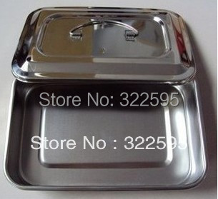 free shipping 30x20x5cm stainless steel medical use tray with cover no hole medical micro plastic use stainless steel