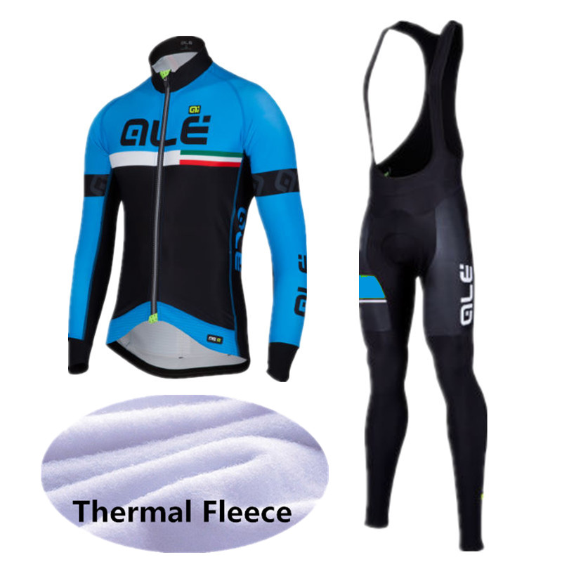 2017 Winter Thermal Fleece Pro Team Cycling Jersey Set Long Sleeve Bicycle Bike Clothing Ropa Ciclismo ALE Cycling Cothing Set