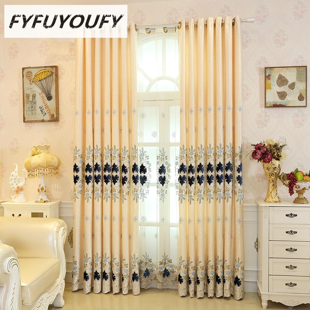Cortinas de ventana de jacquard bordadas de lujo de nueva Europa para - Textiles para el hogar