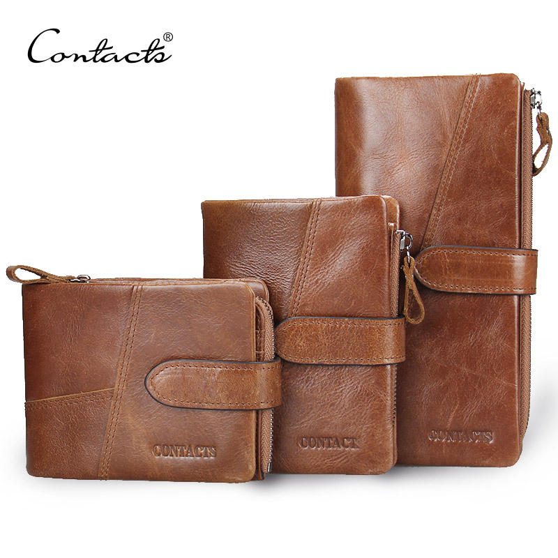 CONTACT S Retro luxury Genuine Leather Women Men Wallets High Quality Brand Design Zipper Wallet Womens