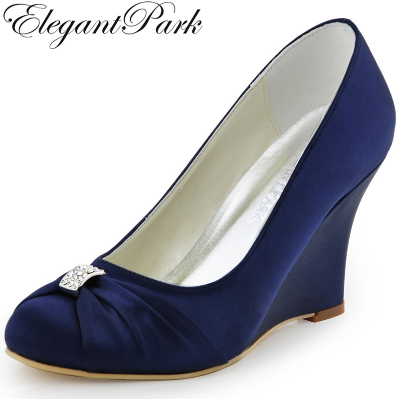 Women Wedges High Heel Wedding Bridal Shoes Navy Blue Rhinestone Closed Toe Satin Bride lady Prom Party Pumps EP2005 Teal White ar6079