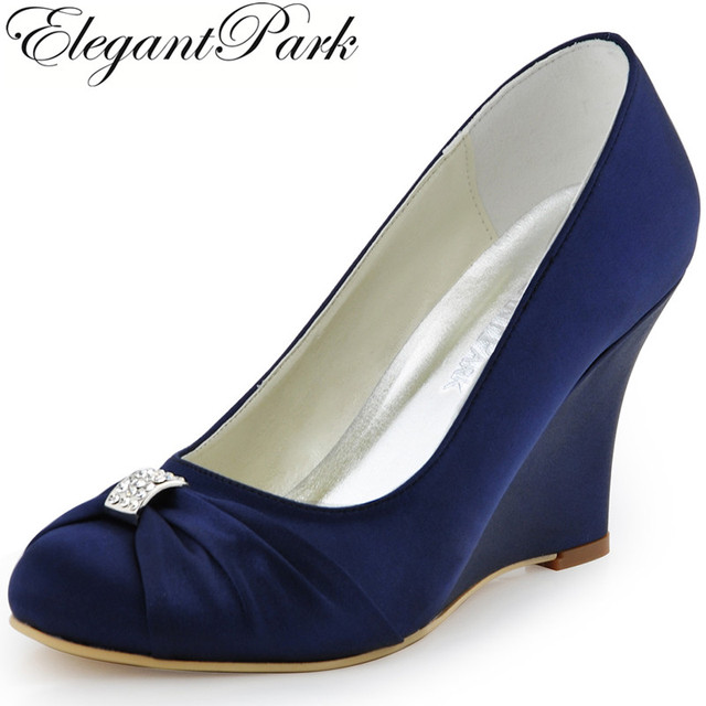 Women Wedges High Heel Wedding Bridal Shoes Navy Blue Rhinestone Closed Toe Satin Bride Lady Prom