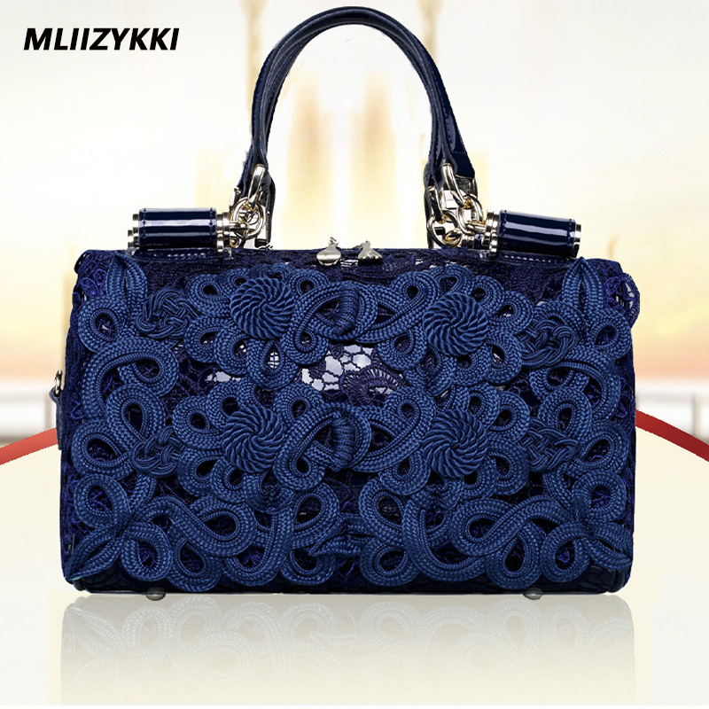 MLIIZYKKI Retro Tote Women Bag Leather Handbags Female Luxury Handbag Ladies Lace Shoulder Bag Flower Evening Bags mliizykki lace flower handbags women shoulder bag spring casual hobos tote