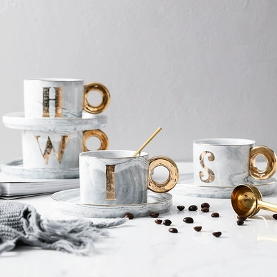 2019 new style Nordic Gold-traced Ceramic Marble Coffee Cup with Disk Set Afternoon Tea Cup Creative <font><b>CoffeeCups</b></font> image