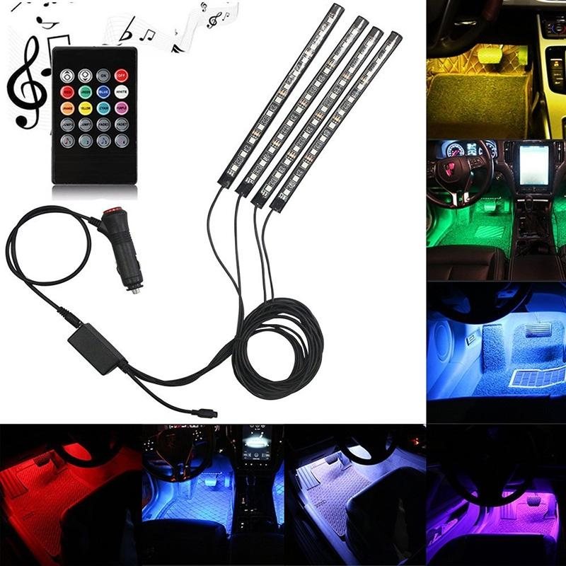 LumiParty 4PCS LED Remote Control Colourful Music Ambient Stripe Light for Car Decoration jk35 infrared remote control w led dimmer for led light stripe white