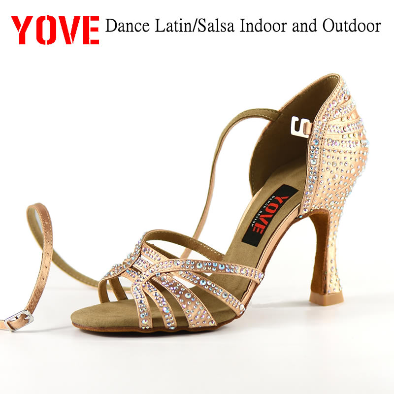 YOVE Style W1904-1 Dance Shoes Bachata/Salsa Dance Shoes Women's Dance Shoes With Rhinestone