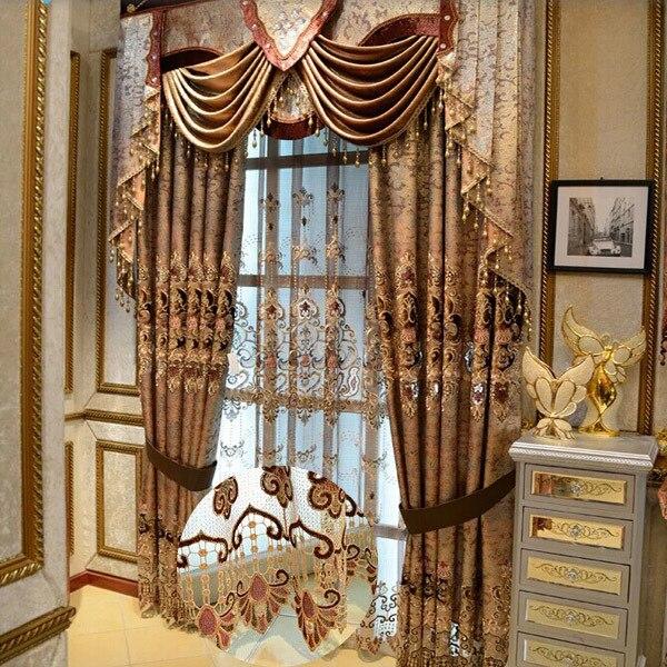 Fancy cortina mantovane ricamo tenda di seta per la sala da pranzo ...