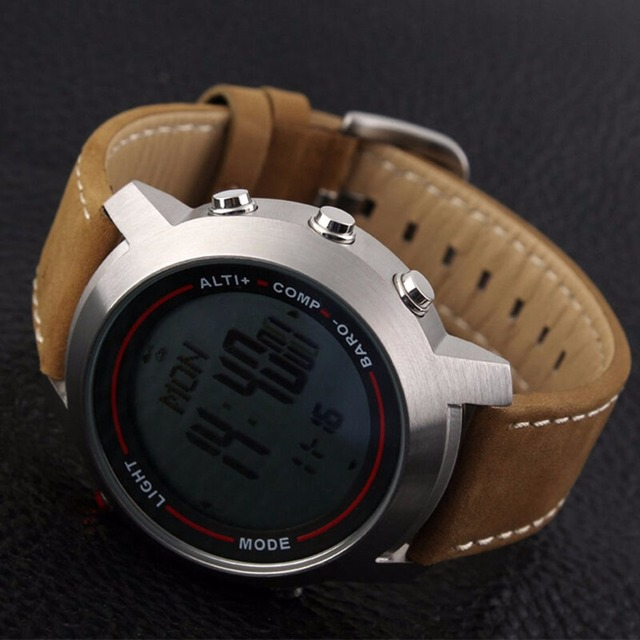 Men's Outdoor Multi-Function Steel Dial Leather Band Mountaineer Sports Watch