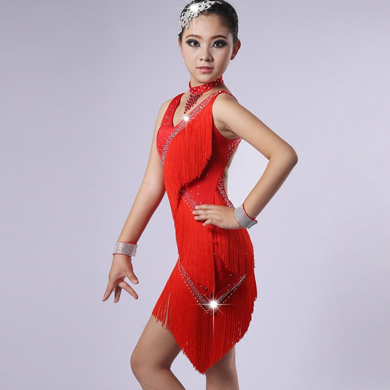 Picture of Customize Red Children Latin Dance Dress Girls Dance Costume For Kids Latin Dresses For Girls Latin Salsa Dress Dance Wear Rumba