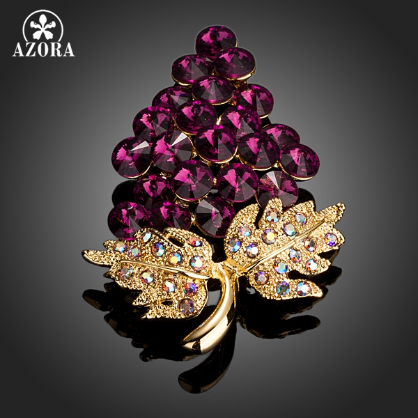 AZORA Gold Color A Bunch Of Grapes Mutilcolour Stellux Austrian Crystal Pin Brooch TP0027 azora sparking sea blue top stellux austrian crystal octopus animal pin brooch tp0051