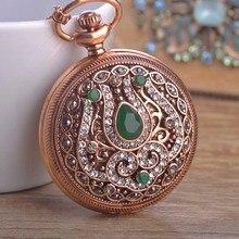 Vintage de Lujo Resina Ronda de Cuarzo Reloj de Bolsillo Colgante Collar Para Las Mujeres Hombre Exquisito Cristales Rhienstone Joyas de Oro Antiguo