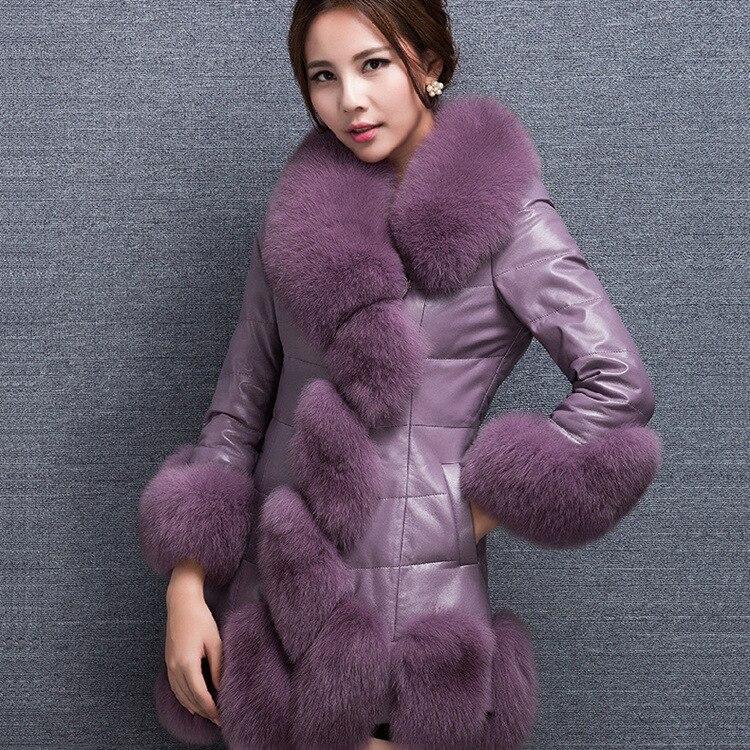 2 D'hiver Section Cuir Femmes Le Et Longue Vers 1 Veste Manteau Nouvelle Hiver Fourrure Herbe Automne De Bas 3 Manteaux wCa61Uwp
