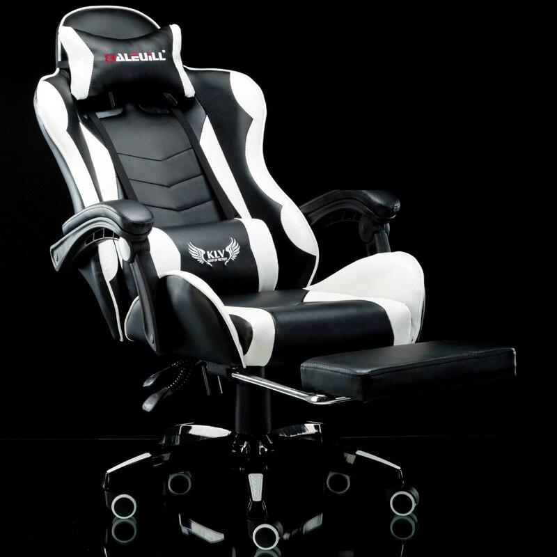 Multi-fonction Chaise de Bureau Ménage Inclinable Massage Ordinateur Chaise avec Repose-pieds Levé et Rotation E-sport Chaise De Jeu