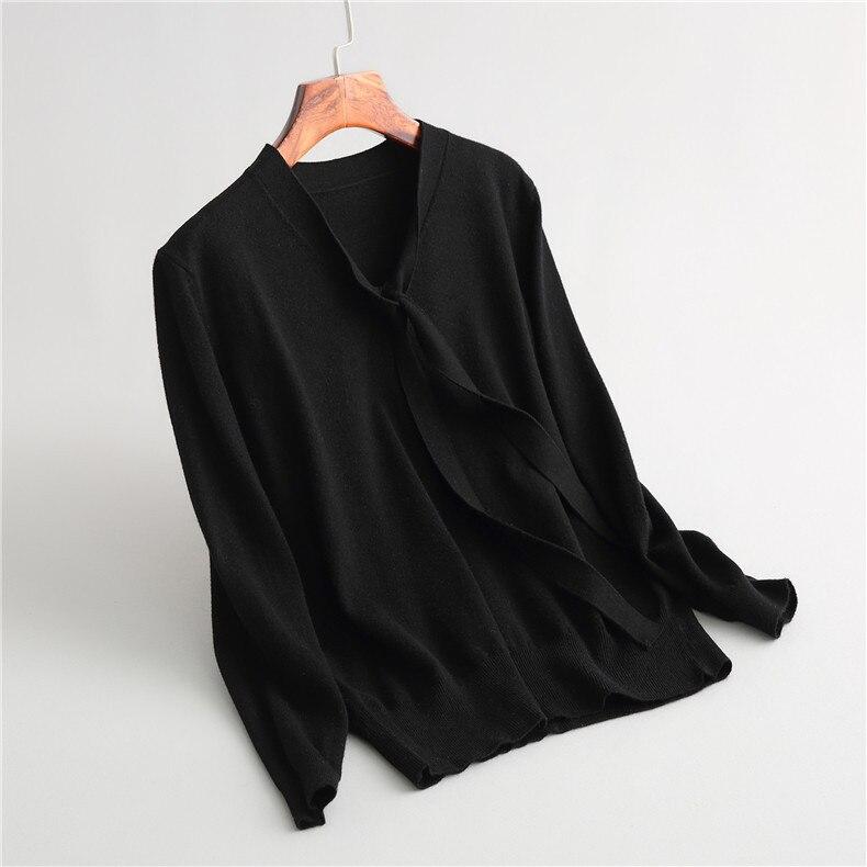 Pull Chandail Manches Automne Femmes gray Longues 2018 Black Tricoter Printemps Tricoté Mince Occasionnel À Chandails AqwR5P8
