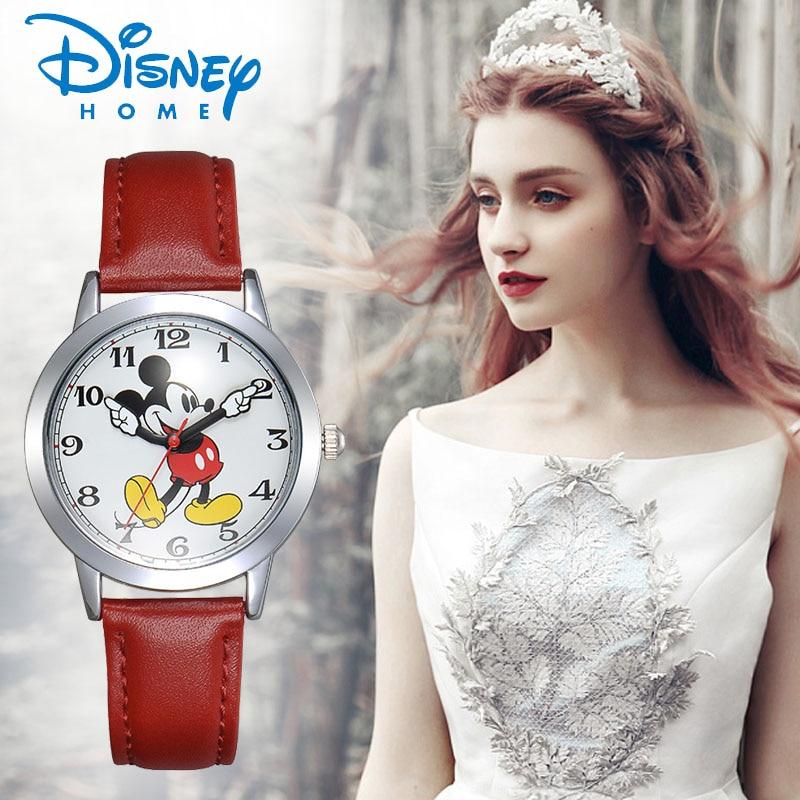 Prix pour Disney montre hommes mickey mouse femmes montres de mode top marque montre-bracelet relogio feminino casual quartz bracelet en cuir montres