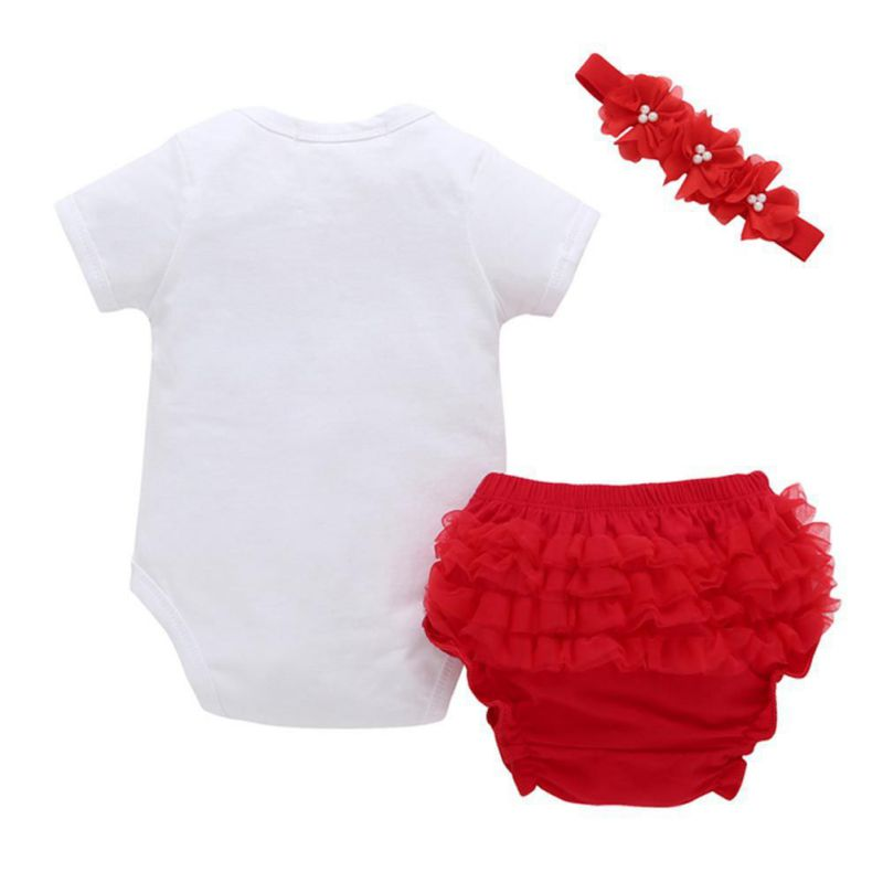 3 PCS New Newborn Infant Baby Boys Girls Clothing Set Short Sleeve Letter Bodysuit One-piece Tops Jumpsuit+Briefs+Headband