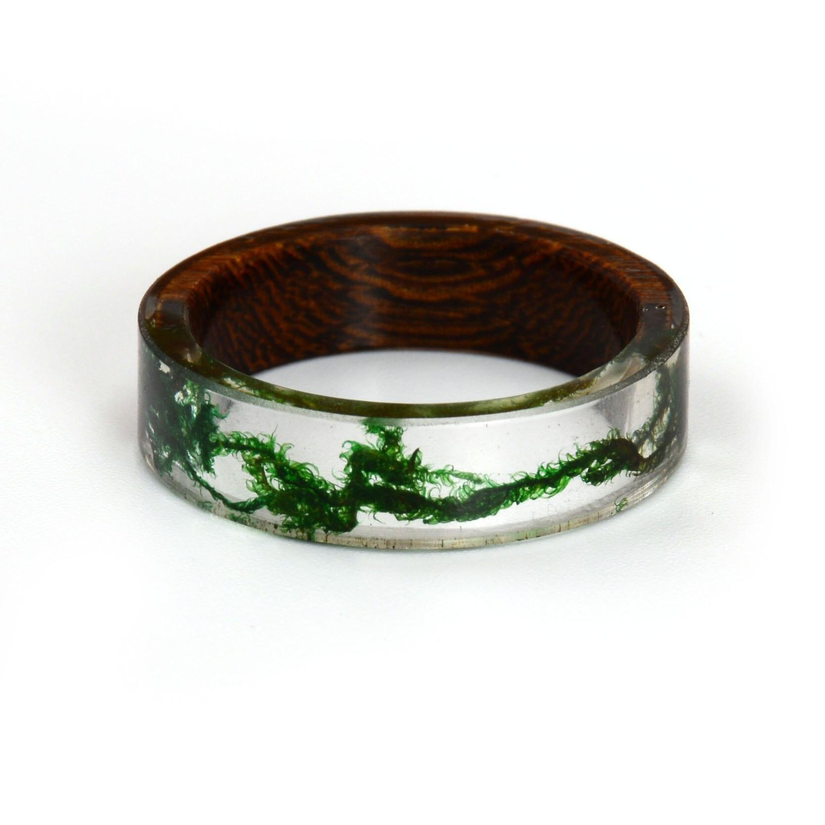New Design Rings For Women Men Wood Resin Landscape Ring Male Natural Scenery Epoxy Resin Rings Female Finger Punk