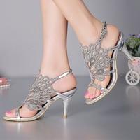 Stiletto Heel Sandals Strappy Dép Mùa Hè Màu Đen Gót Rhinestone Dép Cưới Cô Dâu Shoes Đỏ Bạc Prom Bên Hở Ngón