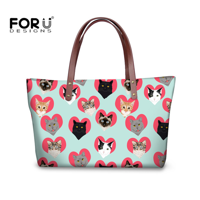 FORUDESIGNS 2018 Spectacular Cats Women Purse Handbags Sets Ladies PU Leather Wallet Shoulder Bags Female Girls Casual Tote Bag