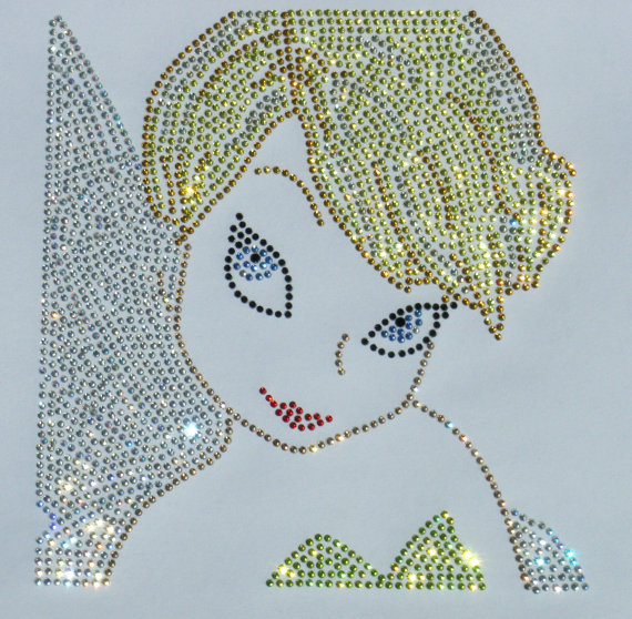 2pc/lo tinkerbell iron on rhinestone TRANSFER for t-shirt iron on design rhinestone applique patch hot fix motif dress