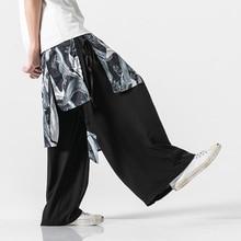 Men Chinese Style Pant 2019 Streewear Cotton Linen Mens Fashion Print Ankle-Length Harajuku 5XL Male Oversize Wide Leg