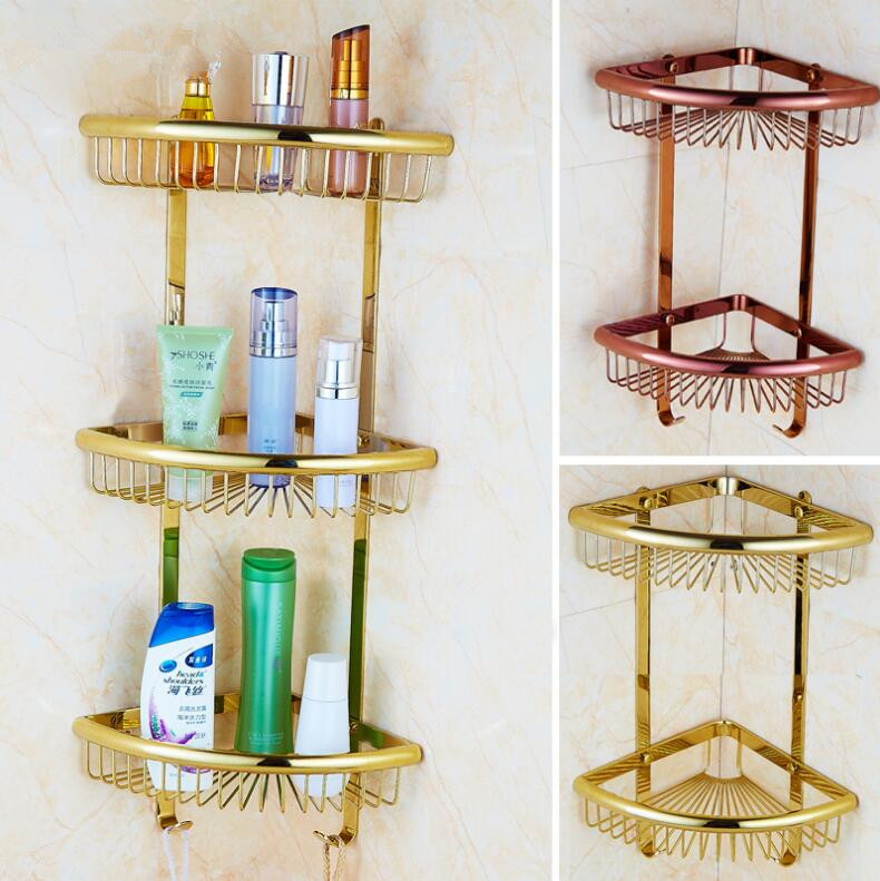 Wall Mounted Gold/Chrome/Rose Gold Bathroom Shelf Bath Shower Shelf Bathroom corner shelf Soap Holder building material