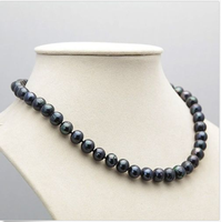 Wedding Woman AA 18 9 10MM Freshwater Black Pearl Necklace Real Natural Pearl Handmade Free Shipping