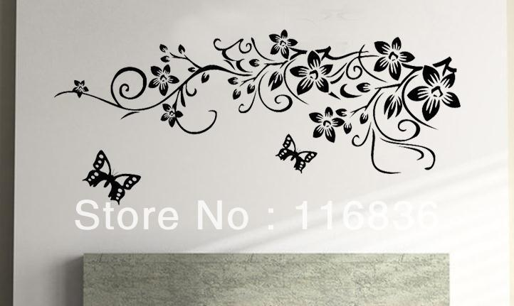Free Shipping Retail Hot Selling Black Flowers Pattern Fashion DIY Wall  Sticker Wall Art Sticker 1set U003d1Vine+2Butterfly SI722 In Wall Stickers From  Home ...
