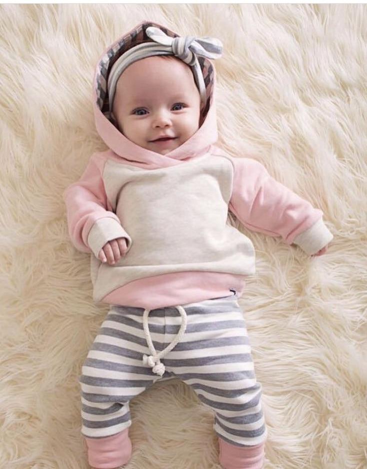 3 шт. Одежда для новорожденных мальчиков и девочек с длинным рукавом пуловер с капюшоном топы, брюки в полоску для малышей комплект одежды для маленьких мальчиков Нарядная одежда для малышей