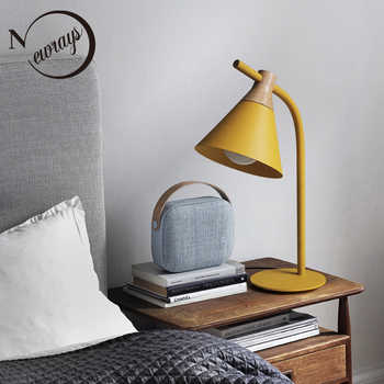 Nordic simple iron wood table lamp modern countryside desk lamp LED E27 with 4 colors for study bedroom parlor bookstore hotel - DISCOUNT ITEM  30% OFF All Category