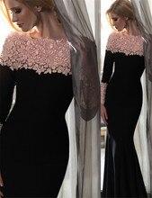 Lang Mermaid Lace-Appliques Elegante-Schulter Langen Ärmeln Abendkleider