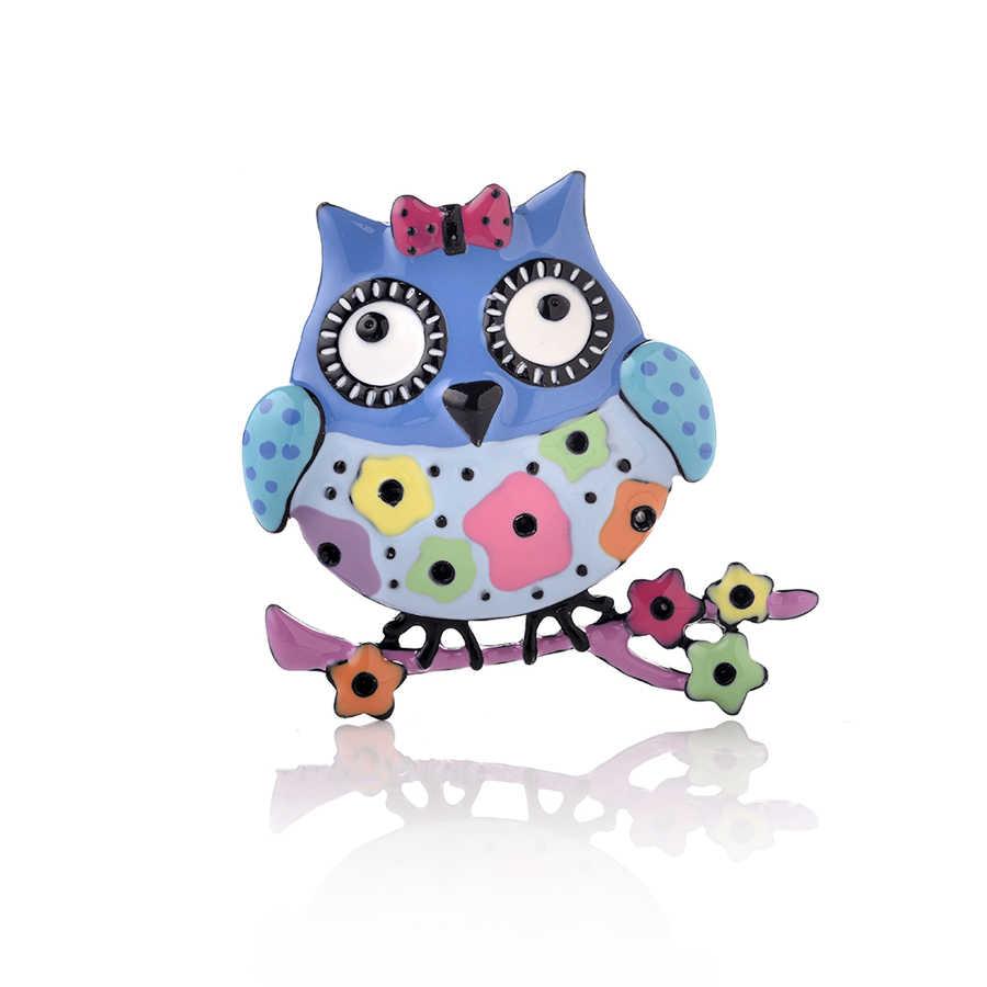 Bonito engraçado coruja broches pino de alta qualidade unisex liga dos desenhos animados animais esmalte broches crachá personalidade criativa pássaro jóias
