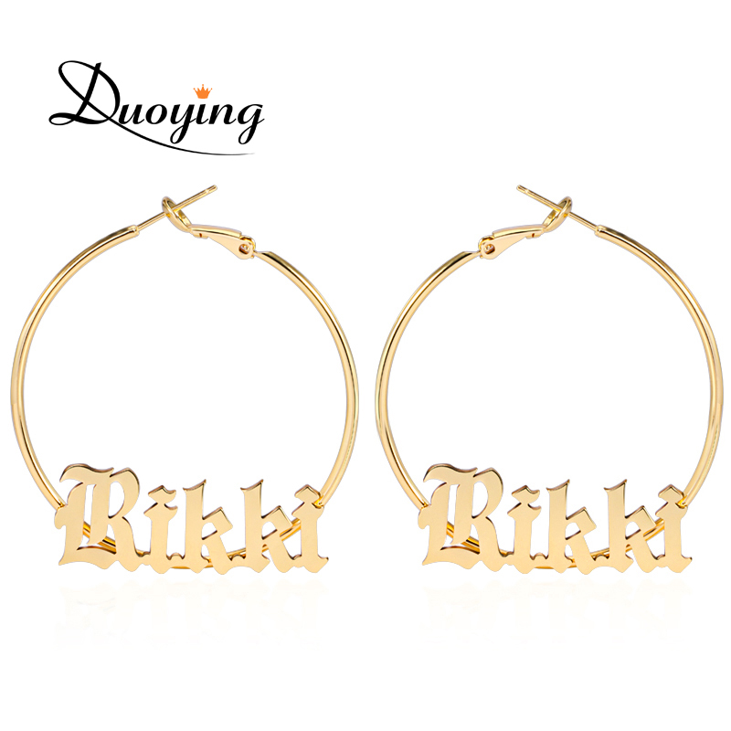 Duoying Old English Style A-Z Letters Custom Name 45mm Hoop Earings Cute Copper Jewelry For BFF Woman Christmas Gift For Etsy