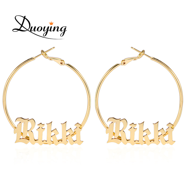 Duoying Old English Style A Z Letters Custom Name 45mm Hoop Earings Cute Copper Jewelry For BFF