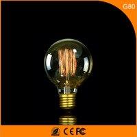 50 шт. b22 e27 светодиодные лампы Винтаж Дизайн edison нити, g80 40 Вт энергосберегающих украшение лампы заменить лампы накаливания AC220V