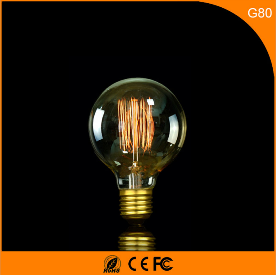 50Pcs B22 E27 LED Bulb Vintage Design Edison Filament ,G80 40W Energy Saving Decoration Lamp Replace  Incandescent Light AC220V 1pcs e27 t80 led energy saving lamp light bulb velas led decorativas home lighting decoration 40w ac85 265v led lamp
