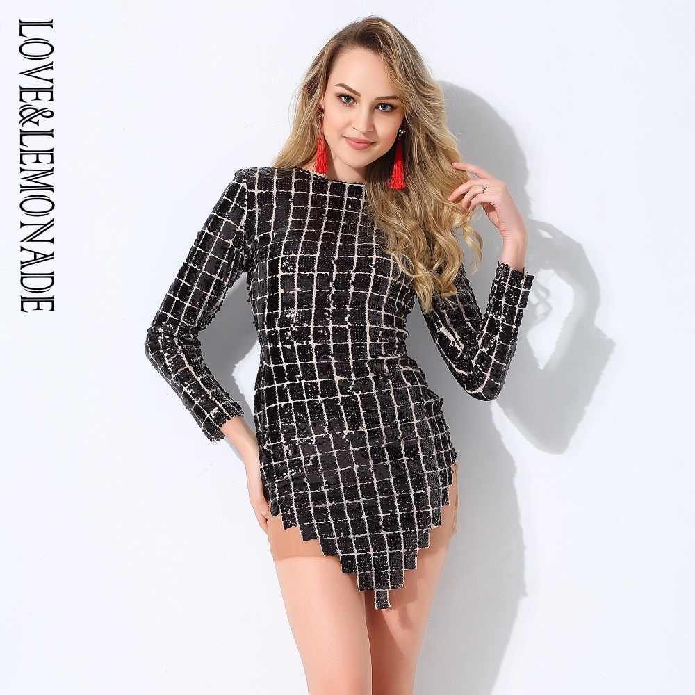 Черное клетчатое Сетчатое платье с пайетками Love & Lemonade LM0782