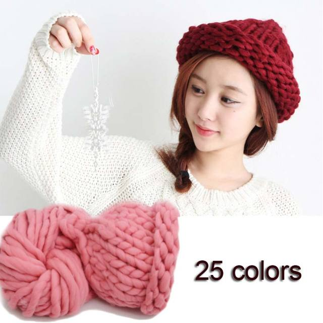 1 Ball Super Thick Wool Hand Knitting DIY Blanket Hat Knitted Wool Roving  Crocheting Chunky Bulky Yarn MX8-in Skullies   Beanies from Women s  Clothing ... f36426e782b
