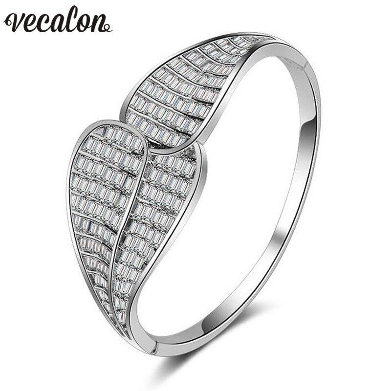 Vecalon Hyperbole channel setting 5A cubic zirconia Engagement bracelet White Gold Filled cuff bangle women Wedding accessaries