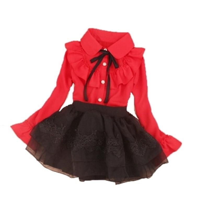 2017 Scuola Baby Girl Toddler Ragazze Adolescenti Camicetta Autunno A Maniche Lunghe In Chiffon Ruffles Gira-giù Il Collare Rosso Pullover Bambini Camicie Aa2471 Design Accattivanti;