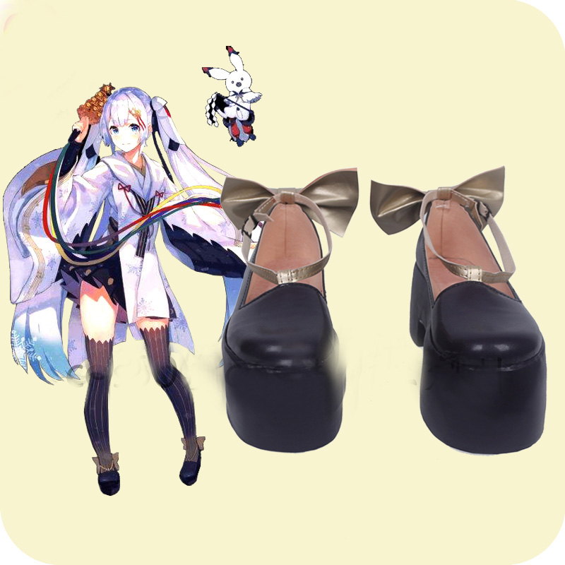 Vocaloid Snow Miku 2018 Black Cosplay Shoes Boots Women's Halloween Carnival Party Costume Accessories