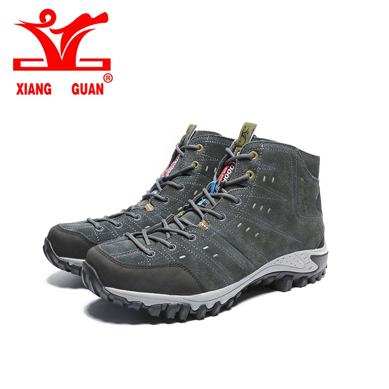 XIANGGUAN Hiking Boots Outdoor Sneakers Suede Mountain male black Climbing Camping Shoes High sports Trekking Shoes for man humtto new hiking shoes men outdoor mountain climbing trekking shoes fur strong grip rubber sole male sneakers plus size